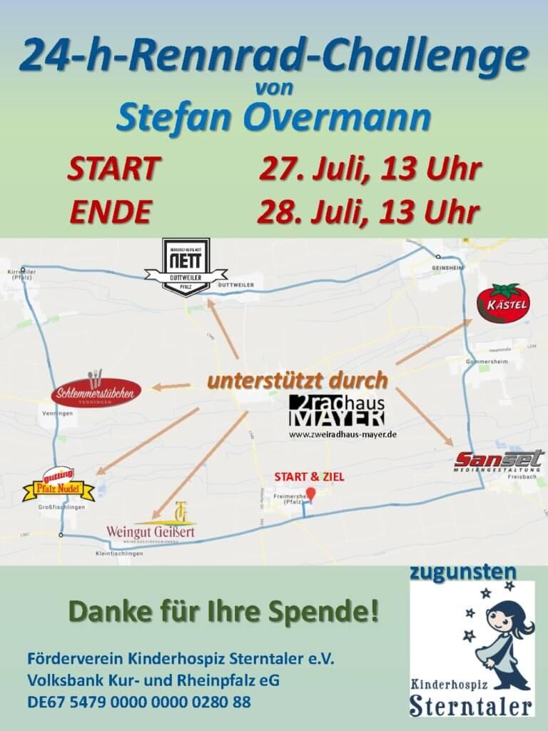 Die 24-Stunden-Rennrad-Challenge von Stefan Overmann  zu Gunsten des Kinderhospiz Sterntaler e.V.