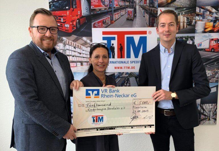 Spende der TTM Internationale Spedition in Höhe von 5.000 Euro im Jubiläumsjahr