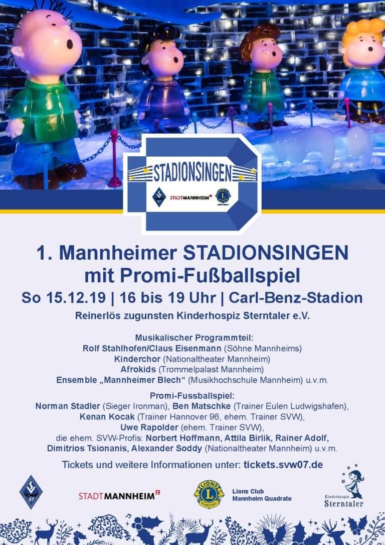 Erstes Mannheimer Stadionsingen zugunsten Kinderhospiz Sterntaler e.V.