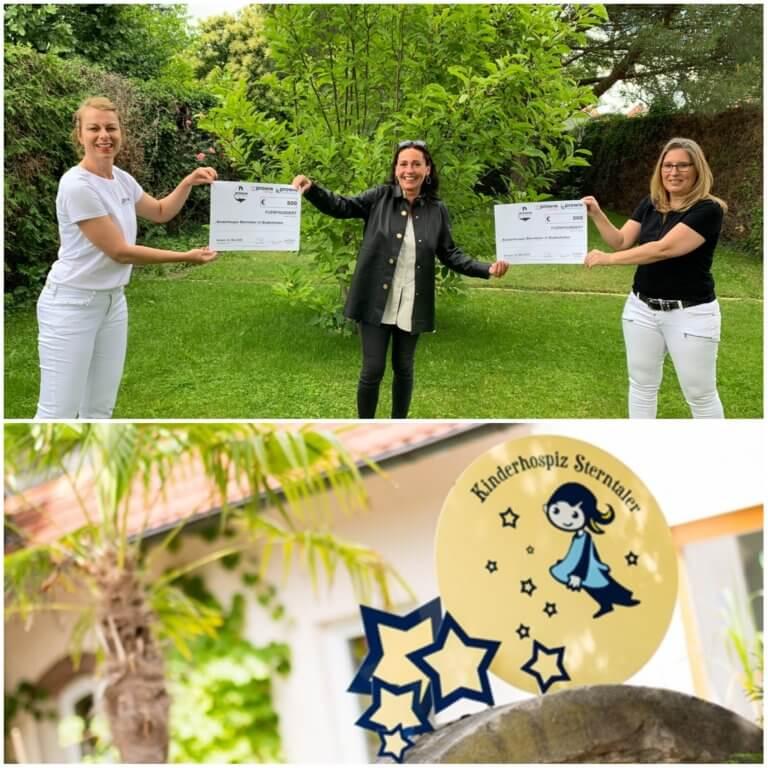 Spendenscheckübergabe von Katrin Obermann und Stefanie Bilabel