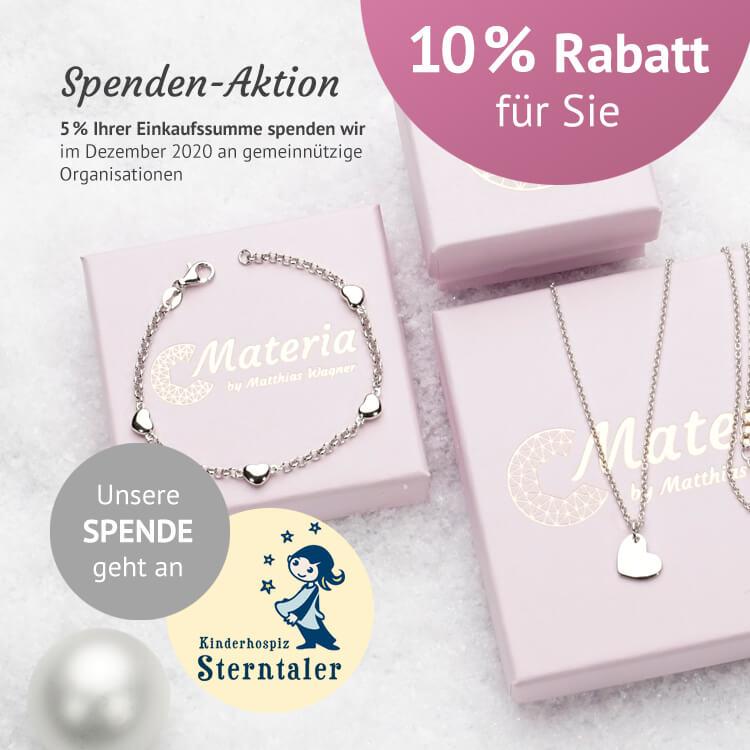 Materia Schmuck spendet 5% seiner Online Shop Verkäufe an Kinderhospiz Sterntaler e.V.