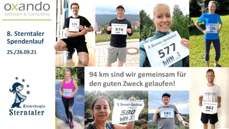 Team oxando erläuft stramme 94 Kilometer für Sterntaler